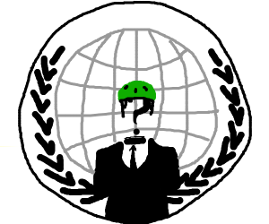 anon logo wearing green helmet