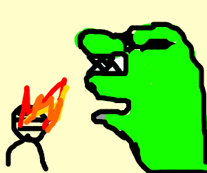 a green dinosaur with sunglasses roasting