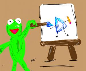 Kermit the frog paints
