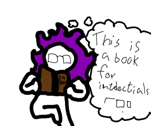 Person with purple lion mane reads