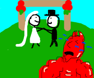 buff demon cries proudly while 2 people marry