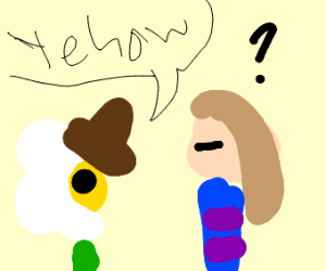 Cowboy Flowey and confused Frisk from Underta