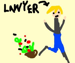 Lawyer kicking a Salad