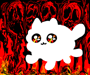 Cute cat fire demon