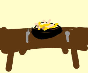 Noodle bowl on an empty table