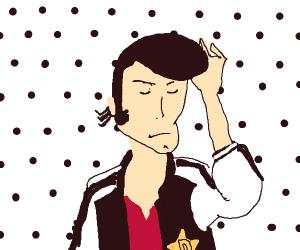 Space Dandy combs his pompadour