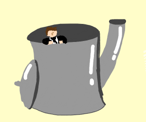 bartist taking bath in tea inside of a kettle