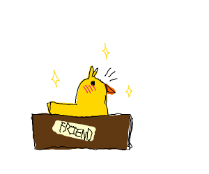 Beautiful baby chicken in a friend box