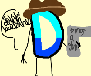 Drawception D holding a gun