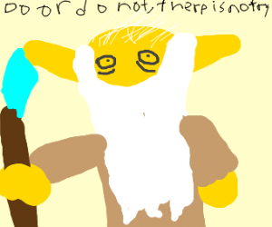 yello yoda with wizard staff talking a/force
