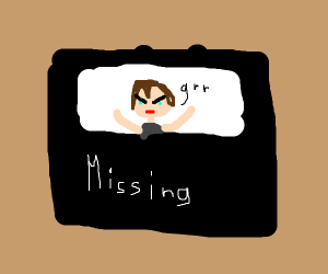 Missing poster of an angry person