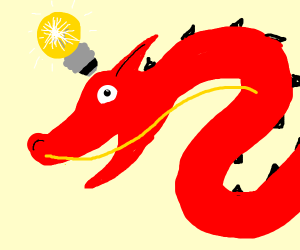 Red Chinese dragon has an idea