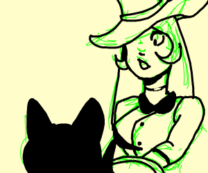 A witch serving her cat poisoned pizza