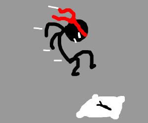 Ninja jumping onto a pillow