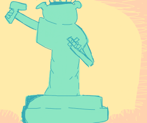 Statue of Liberty smoking