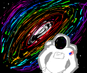 SpaceMan surrounded by rainbows!