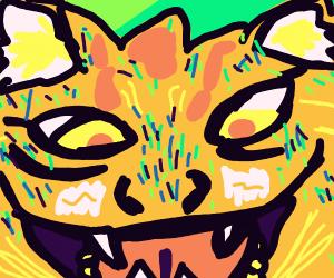 Hungry jungle cat pouncing.