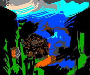 prehistoric mario eats kelp