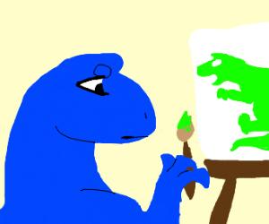 a blue dinosaur painting a green dinosaur
