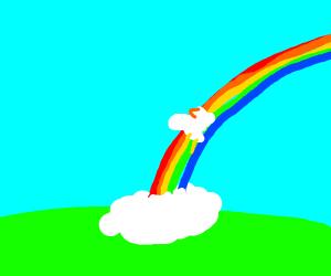 cute chicken sliding down a rainbow