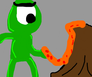 Green cyclops thing eats lava