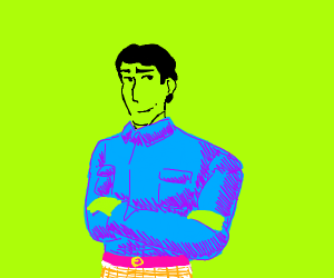 60's guy with neon green skin