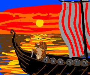 Viking squirrel sails away