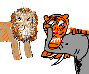 Drawings of Lion, Tiger and Elephant