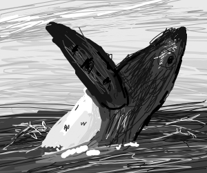 Monochrome whale in the ocean