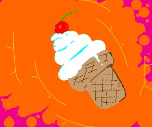 vanilla icecream with cherry on top