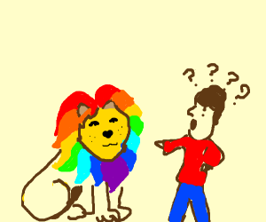 Man confused by rainbow lion