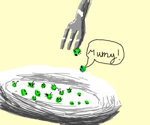 Peas scared of utensils