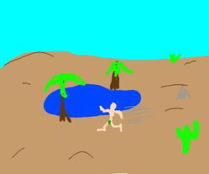 naked man runs near a desert oasis