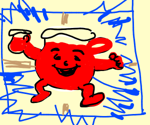 Kool-Aid Man baking a Window