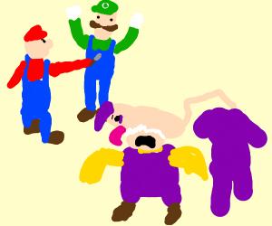 Mario stabs Luigi while waluigi eats wario