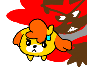 scared pupper being teased by angery red dog