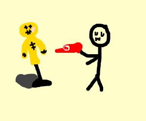 uwu man handing a dummy guy a Mario hat