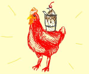 Red chicken w/Ice cream sundae on it