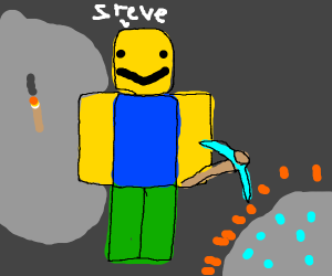 Roblox Steve looking for Diamonds