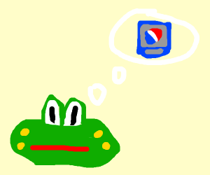 Frog thinks to drink or not to drink pepsi