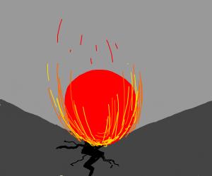 A ball of power breaks through the floor