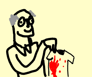 old person holding a bloody shirt