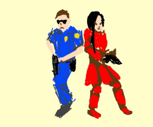 Cop and red samurai with guns