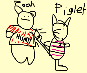 Piglet kicking Pooh's upper back