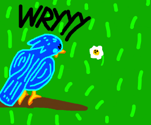 blue bird reee's at a normie flower