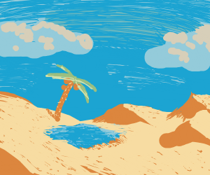 Windy desert with oasis