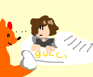 Guy inside gucci shoe with fox surrounding