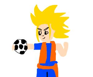 Goku holding a ball