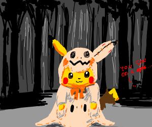 pikachu in a mimikyu halloween costume