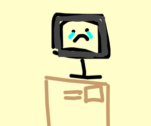 Computer alone on a box